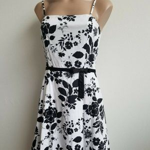 Black and White Spaghetti Strap Floral Sundress